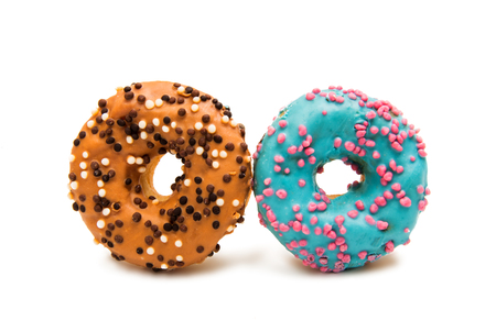 Donuts in glaze on a white background Stock Photo