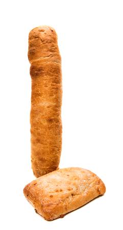 Ciabatta on white background Stock Photo