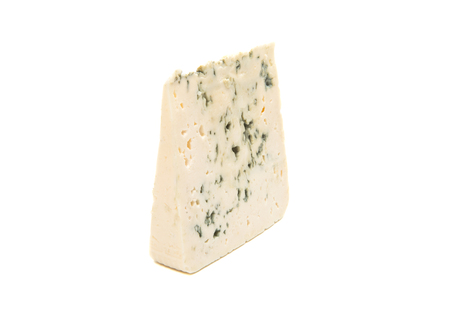 penicillium: Slice of soft blue cheese with mold isolated on white background
