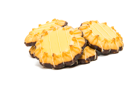 Lemon biscuits on white background