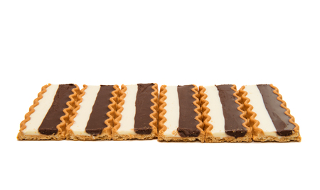 Biscuits with chocolate milk filling isolated on white background Stock Photo