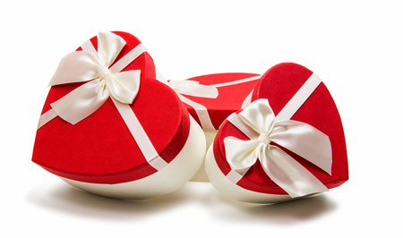 Gift box heart on a white background Stock Photo