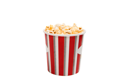 cup of popcorn isolated on white background Stok Fotoğraf