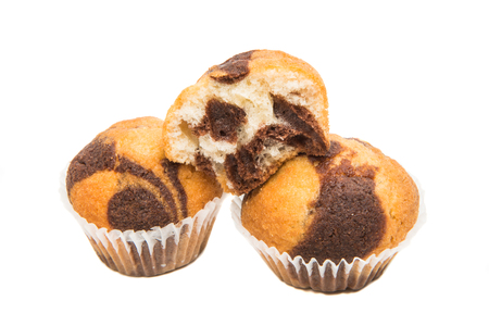 Small muffins on a white background
