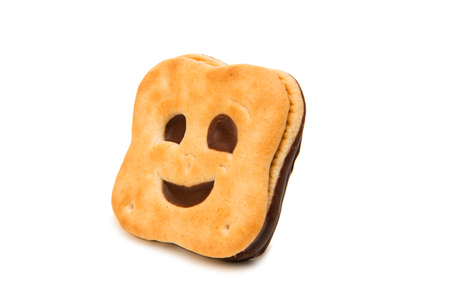smiley cookie isolated on white background Stock Photo