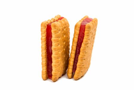 ゼリーは、白い背景で隔離のクッキーサンド 写真素材