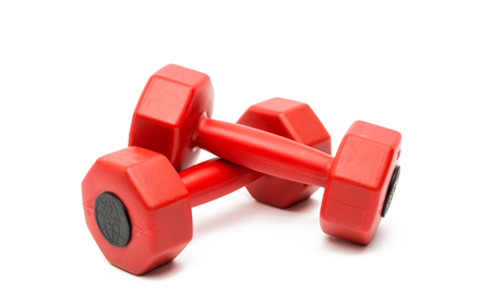 Red little dumbbell on isolated white background
