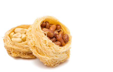 Baklava with nuts isolated on white background