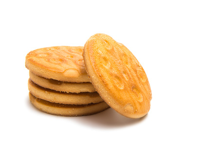 Round cookies isolated on white background Stock Photo