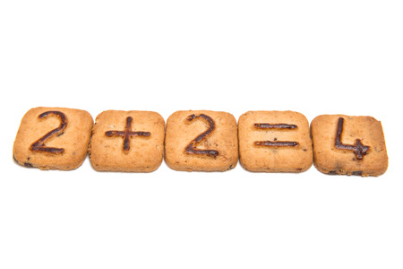 Biscuits with numbers isolated on white background Stock Photo