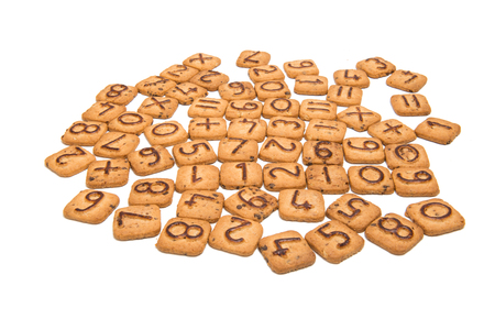 numeric: Biscuits with numbers isolated on white background Stock Photo