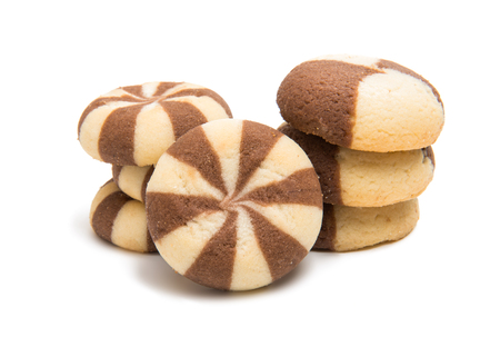Striped cookies on a white background