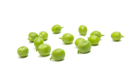 Green fresh peas isolated on white background