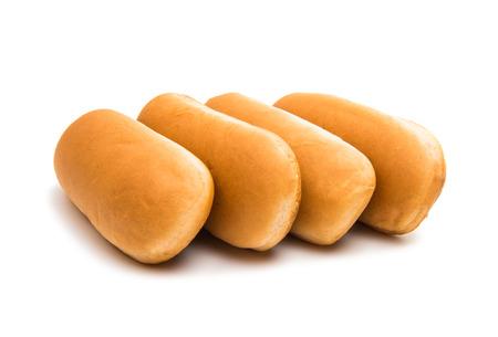 白い背景で隔離のホットドッグのパン