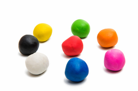 colors of modeling clay isolated on white background Stock Photo