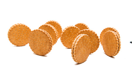 double biscuits with chocolate on white background