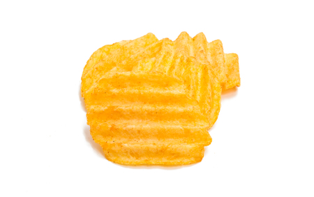 wavy potato chips isolated on a white background