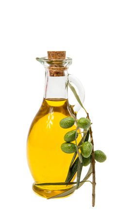 olive green: a bottle of olive oil on white background