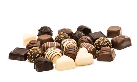 Belgian chocolates on a white background Stock Photo