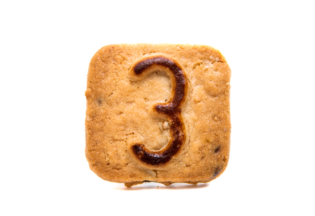 cookies with numbers isolated on white background
