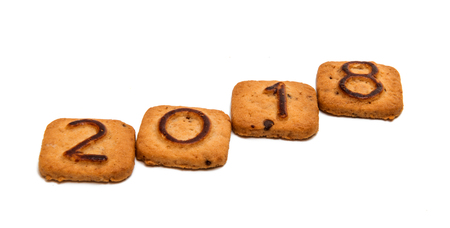 cookies with figures 2018 on white background Stock Photo