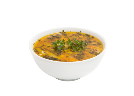 chicken soup isolated on a white background Banco de Imagens