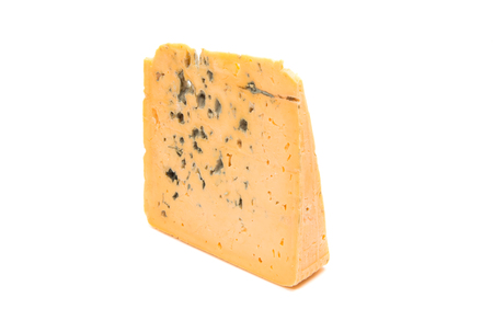 stilton: blue cheese with mold isolated on white background. Blue cheese slice with clipping path
