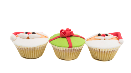 christmas muffins isolated on white background