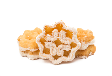christmas biscuit snowflake isolated on white background