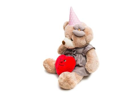 Big Bear soft toy isolated on white background
