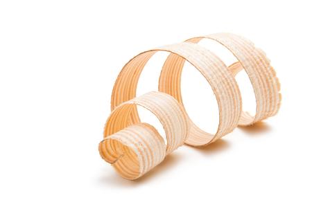 houten krullen geïsoleerd op een witte achtergrond Stockfoto
