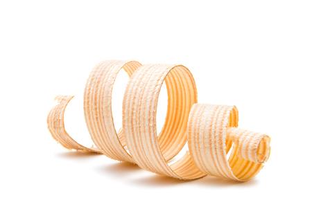wooden shavings isolated on white background Stock Photo