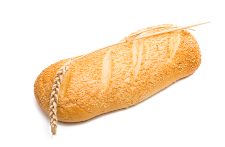 loaf with sesame isolated on white background