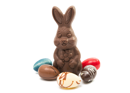 chocolate bunny isolated on white background Stock Photo - 96303037