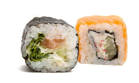 Japanese sushi rolls isolated on white background.