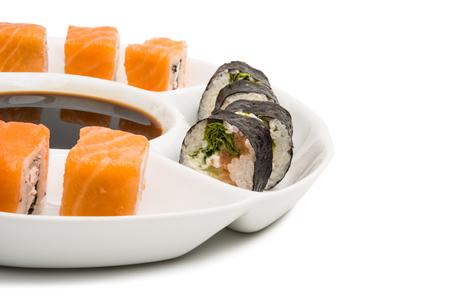 Japanese sushi rolls isolated on white background.