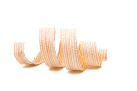 wooden shavings on a white background
