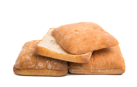 ciabatta for sandwiches on a white background