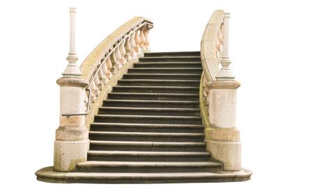 ringhiera in pietra con gradini isolati su sfondo bianco