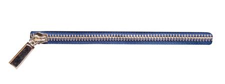 metallic zipper isolated on white background