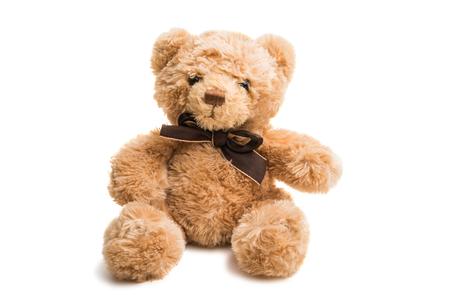 soft toy bear on white background