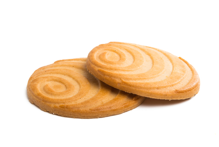 Butter cookies on a white background