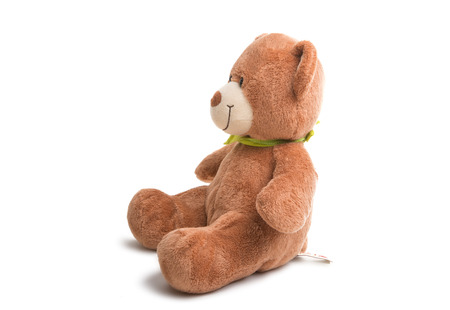 Bear soft toy isolated on white background 版權商用圖片