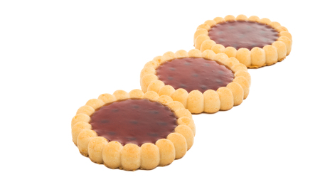 tartlets with raspberry jam isolated on white background