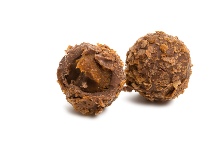 chocolate truffle isolated on white background