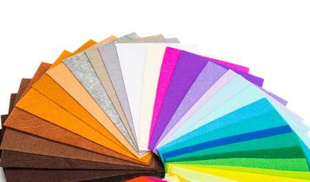 colorful fabric felt isolated on white background