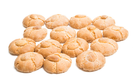 cookies with almonds isolated on white background
