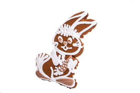 ginger cookie hare isolated on white background Stock Photo