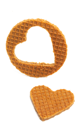 dutch waffles with hearts isolated on white background