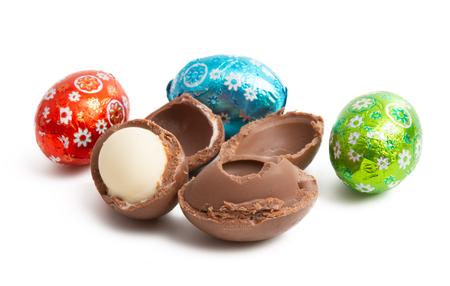 chocolate eggs isolated on white background Stock Photo